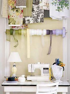 Go vertical. If your craft area is small, utilize the wall above by installing curtain rods for ribbon and fabric storage. A pretty vase can hold your supplies. (Love the curtain rod idea for all my stringing materials) Sewing Spaces, Sewing Rooms, Sewing Closet, Sewing Desk, Sewing Tables, Fabric Sewing, Fabric Storage, Craft Storage, Ribbon Storage