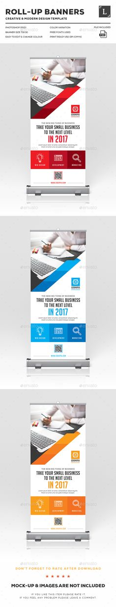 Roll-Up Banners Design Template - Signage Print Template PSD. Download here: http://graphicriver.net/item/rollup-banners/16616167?s_rank=718&ref=yinkira