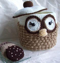Owl Cookie Jar...PDF Crochet Pattern by KTBdesigns on Etsy