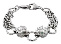 Stainless Steel Chained Tiger CZ Bracelet