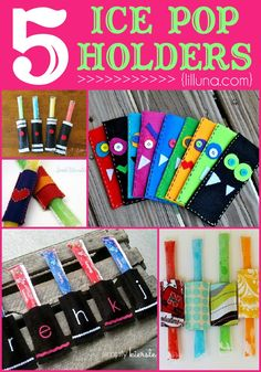 5 Ice Pop Holders on Winter Crafts For Kids, Summer Activities For Kids, Easy Crafts For Kids, Summer Crafts, Summer Kids, Fun Crafts, Art For Kids, Sewing Crafts, Sewing Projects