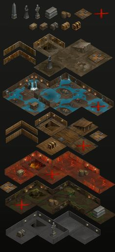 location dungeons, Elena Kostrova on ArtStation at https://www.artstation.com/artwork/location-dungeons Game Environment, Environment Concept Art, Environment Design, Roguelike Games, Isometric Map, Game Textures, Game Props, Cartoon Games, Map Design