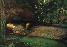 """Ophelia"" - John Everett Millais (c1851).  Elizabeth Siddal was the model for this painting. She posed over a period of several months lying in a bath full of water which was kept warm by lamps placed underneath. When the lamps went out she didn't complain and the water turned ice cold. Millais was so absorbed in his work he didn't notice. Sidall fell ill afterwards and Millais had to pay for her medical treatment."