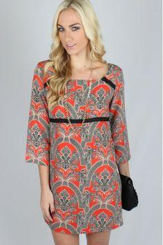 Laced in Paisley Dress $34.99 #paisley #shiftdress #sophieandtrey