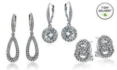 Groupon - Swarovski Elements Silver-Tone Earrings. Multiple Styles Available. Free Returns. in Online Deal. Groupon deal price: $24.99