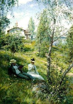 Villa Bjorkbacken vid Sommen, 1892.  Swedish Artist Johan Krouthen (1858–1932)