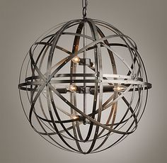 Orbital Sphere Large Pendant Pewter