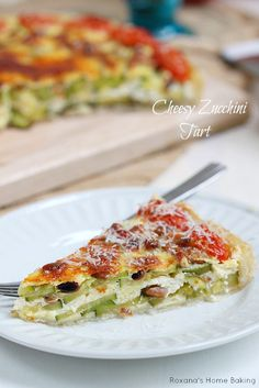 Cheesy zucchini tart with pine nuts and grape tomatoes {recipe}