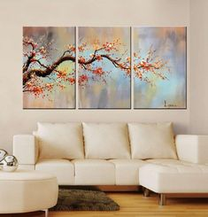 "Modern 100% Hand Painted Flower Oil Painting on Canvas ""Orange Plum Blossom"" 3-Piece Gallery-Wrapped Framed Wall Art Ready to Hang for Living Room for Wall Decor Home Decoration 24x48inches"