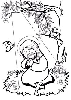 Jesus Coloring Sheets - in Spanish! Jesus Crafts, Bible Story Crafts, Catholic Crafts, Church Crafts, Sunday School Activities, Sunday School Crafts, Bible Coloring Pages, Coloring Books, Coloring Sheets