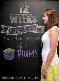 weekly pregnancy chalkboard announcement 12 weeks