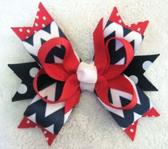 July 4th Red White Blue Chevron Multi Layer Boutique by BabyABows, $4.50