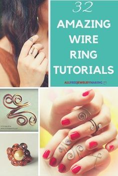32 Amazing Wire Ring Tutorials – Learn how to make wire rings of all kinds with this collection of free wire jewelry tutorials! 32 Amazing Wire Ring Tutorials – Learn how to make wire rings of all kinds with this collection of free wire jewelry tutorials! Wire Rings Tutorial, Ring Tutorial, Bracelet Tutorial, Bijoux Fil Aluminium, Diy Rings, Diy Wire Jewelry Rings, Glass Jewelry, Jewelry Making Tutorials, Jewellery Making