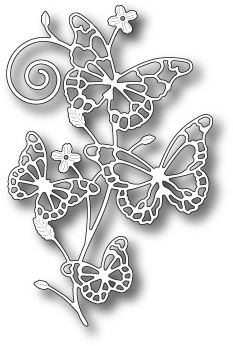 Memory Box 99411 Marielle Butterflies wafer thin craft die made from steel. Use on cardstock, felt, fabric, and shrink plastic. Butterfly Stencil, Butterfly Project, Butterfly Crafts, Paper Cutting Patterns, Stencil Patterns, Stencils, Paper Art, Paper Crafts, Memories Box