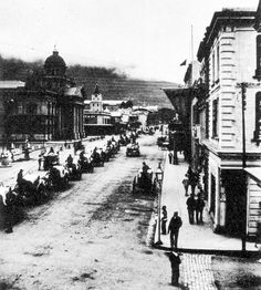 View of Adderley Street from Castle Street Corner 1892 Old Pictures, Old Photos, Vintage Photos, El Dorado County, Nordic Walking, Street View, Main Street, Antique Maps, Back In The Day