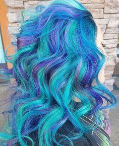 All Arctic Fox Hair Color; Base Aquamarine w/ Transylvania; Neon Moon, Phantom Green, Virgin Pink and Purple Rain