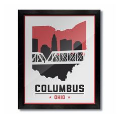 Columbus, Ohio Skyline Poster Print: Wall Art - Style White