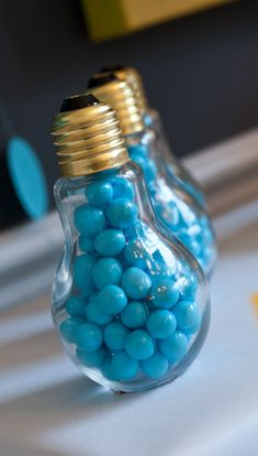 "Don't forget favors for your guests! A clever idea is to fill light bulbs with candy. You could attach a note ""Thank you for celebrating Johnny's bright future!"" You can use candy in your school colors too!"