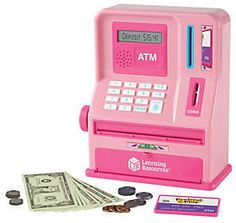Math and money management made fun! This Pretend and Play ATM bank from Learning Resources puts the fun in teaching the fundamentals of counting, depositing, withdrawing, and saving. From Learning Resources.