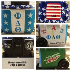 Fraternity cooler I made for my boyfriend Fraternity Coolers, Frat Coolers, Coolest Cooler, College Sorority, Cooler Designs, Cooler Painting, Sorority Crafts, Delta Zeta, Party Cups