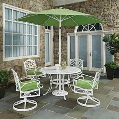 Home Styles Biscayne Round 7 Piece 48 In. Outdoor Patio Dining Set With  Cushions And