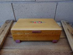 Vintage Wooden Sewing Box With Sewing Supplies by TiesofMyFather, $26.00