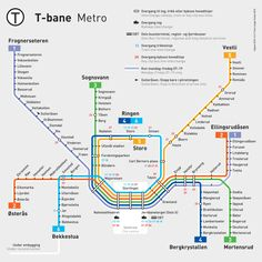 Official Map: Oslo T-bane (Metro) System An excellent example of a fully diagrammatic metro map. Clearly marked routes (both by number and end station name), bright and attractive colours and lots of. Metro Subway, Subway Map, Oslo, Map Metro, Underground Map, Navigation Design, Rapid Transit, U Bahn, Bane