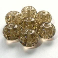 Handmade lampwork bead set of 7 taupe glass bubble by SoozBeads