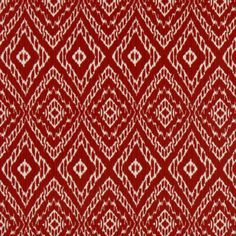 Beautiful Red And White Ikat Upholstery Fabric For Furniture   Bright Red Ikat Cotton  Curtain Panels