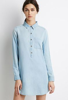 Buttoned Denim Shift Dress | Forever 21 - 2000077903