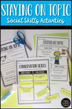 Staying on Topic: Social Skills Worksheets, Activity and Social Narrative Teaching Emotions, Autism Teaching, Teaching Tools, Teaching Resources, Life Skills Classroom, Developmental Disabilities, Social Stories, Social Skills, Speech Therapy