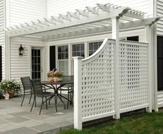white patio pergola with privacy panels ideas townhome 50 Awesome Pergola Design Ideas — RenoGuide - Australian Renovation Ideas and Inspiration Outdoor Pergola, Backyard Pergola, Outdoor Rooms, Outdoor Living, Pergola Lighting, Pergola Shade, Screened Gazebo, Rustic Pergola, Corner Pergola