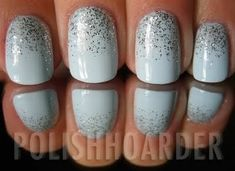 Paint nail a base color. Put a dab of of glitter polish at the base of the nail. Use clear top coat immediately and drag the glitter polish from the bottom to mid nail.
