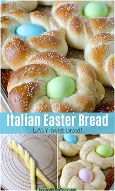 Italian Easter Bread is a soft sweet bread with an Easter egg baked in the middle and topped with sprinkles. This simple braided bread recipe includes easy step-by-step photos and a video. Your guests will Easter Dinner Recipes, Holiday Recipes, Dessert Recipes, Easter Dinner Ideas, Easy Easter Recipes, Easter Brunch Menu, Holiday Desserts, Easter Cookies, Easter Treats