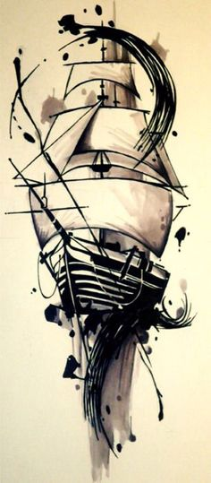 Watercolour ship pre-inked