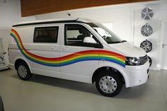 VW T5 mit Regenbogen Plot