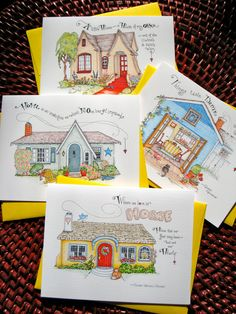 Cozy Cottage Notes. Stationery Gift Set of 4 Note Cards with Home Quotes