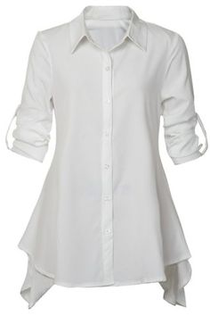 Super adorable Shirt Collar Long Sleeve Solid Color Asymmetrical Women's Dress