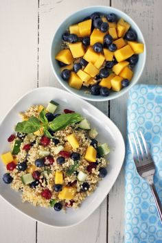 Mango Blueberry Quinoa Salad - made this for lunch without cucumber and it is delicious!