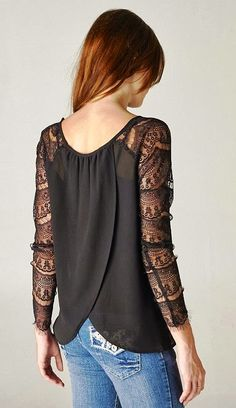 Lovely denim and black lace top combo. Fall winter spring women's  fashion. Cute shirt blouse.