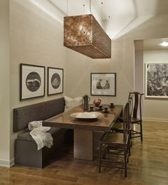 decoration, Warm Interior Design Idea Of Classy Dining Room Themed Feat Oak Wood Table And Pleasant Brown Banquette Seating Under Hanging Long Narrow Lamp - The Design for Banquette Seating Idea in Colorful House