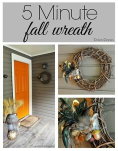 Decorate for fall in minutes with this 5-minute fall wreath by Dolen Diaries for Mabey She Made It. This fall wreath is simple to make and stunning!