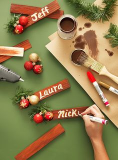 Quick Christmas Craft Idea: Wood Shim Table Place Cards