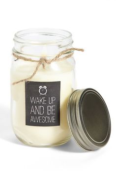 wake up and be awesome jar candle