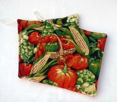 Set of 2 Fabric Potholders Pumpkins and Corn by sewinggranny, $6.00