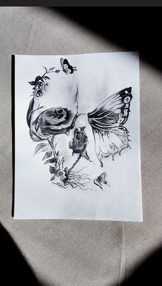 Skull Butterfly Tattoo, Skull Rose Tattoos, Skull Girl Tattoo, Butterfly Drawing, Body Art Tattoos, Flower Skull, Dope Tattoos, Dream Tattoos, Pretty Tattoos