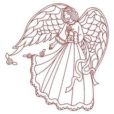 Sweet Heirloom Embroidery Design: Redwork Love Angel 3.80 inches H x 3.65 inches W