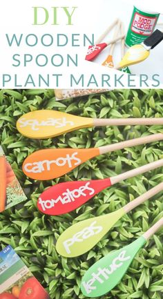 These wooden spoon plant markers are painted and the sealed with Mod Podge, maki. - - These wooden spoon plant markers are painted and the sealed with Mod Podge, making them perfect for spring herbs or your summer vegetable garden. Vegetable Garden Planner, Vegetable Garden Design, Vegetable Garden Markers, Garden Plant Markers, Garden Types, Organic Gardening, Gardening Tips, Flower Gardening, Indoor Gardening