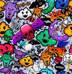 Graffiti Dibujos Animados Personajes Rocambolescos Funky Monstruo ...