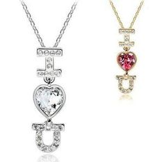Aliexpress.com : Buy (Min.Order $15 Free Shipping)Hot Charm Heart Alphabet Pendant Necklace Rhinestone Glass Crystal 18K White Gold Plated Wholesale from Reliable necklace suppliers on  Jewelry Adore Kingdom $2.95